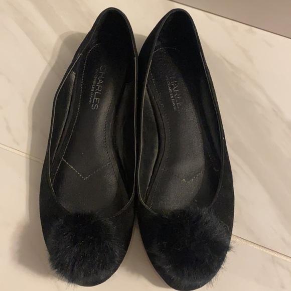 Charles David Danni Black Pom-Pom Ballet Flats